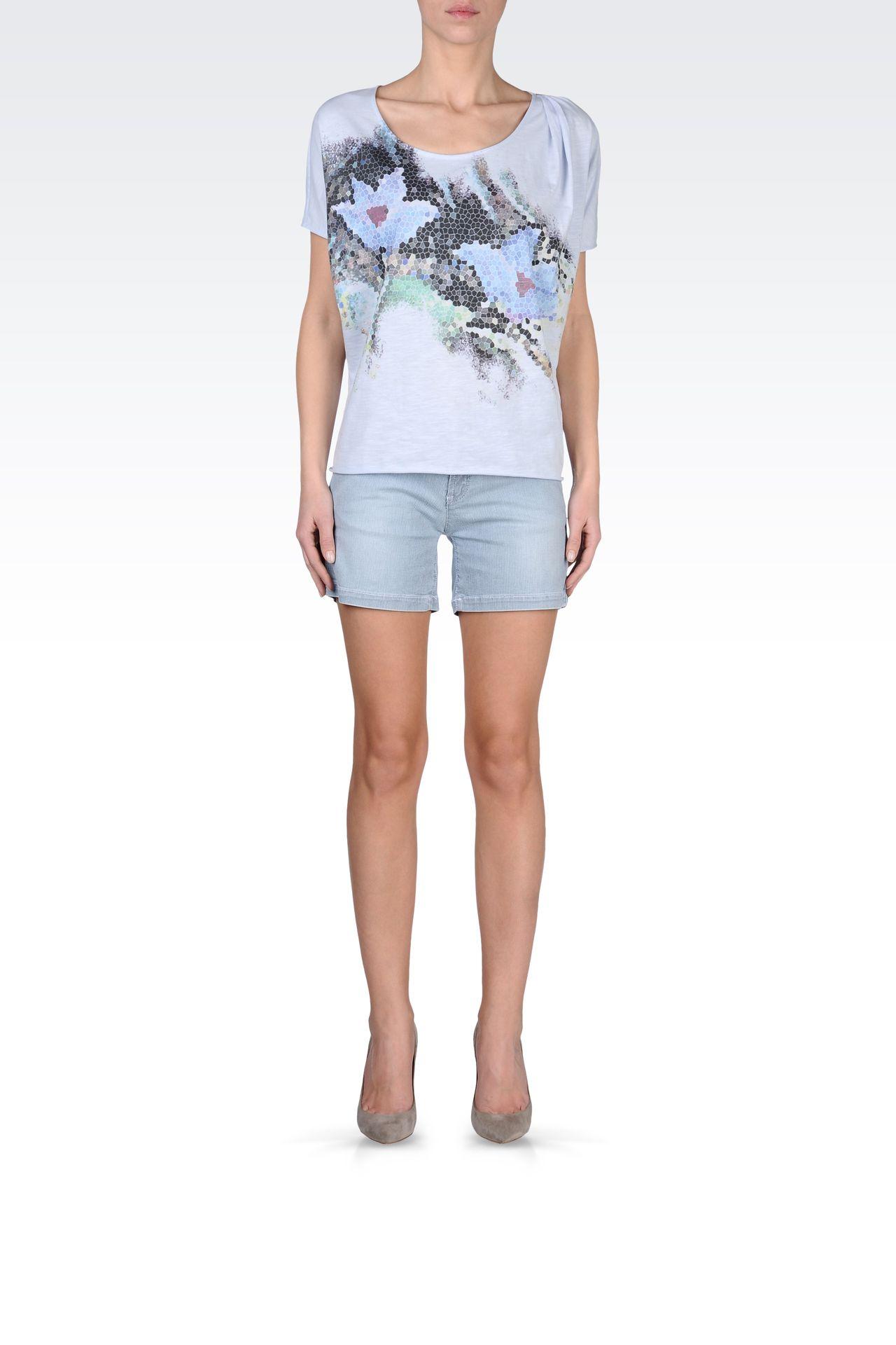 BERMUDA SHORTS IN MICRO STRIPE DENIM: Denim shorts Women by Armani - 0