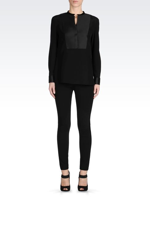 TROUSERS WITH SATIN TUXEDO DETAILING: Straight leg trousers Women by Armani - 1