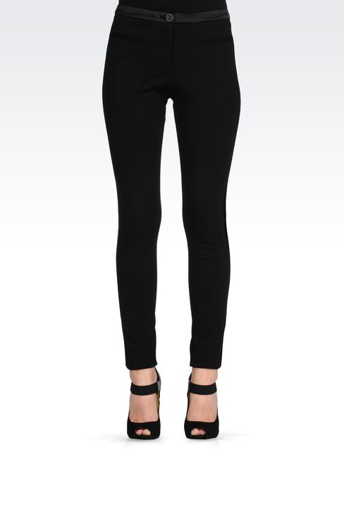 TROUSERS WITH SATIN TUXEDO DETAILING: Straight leg trousers Women by Armani - 2