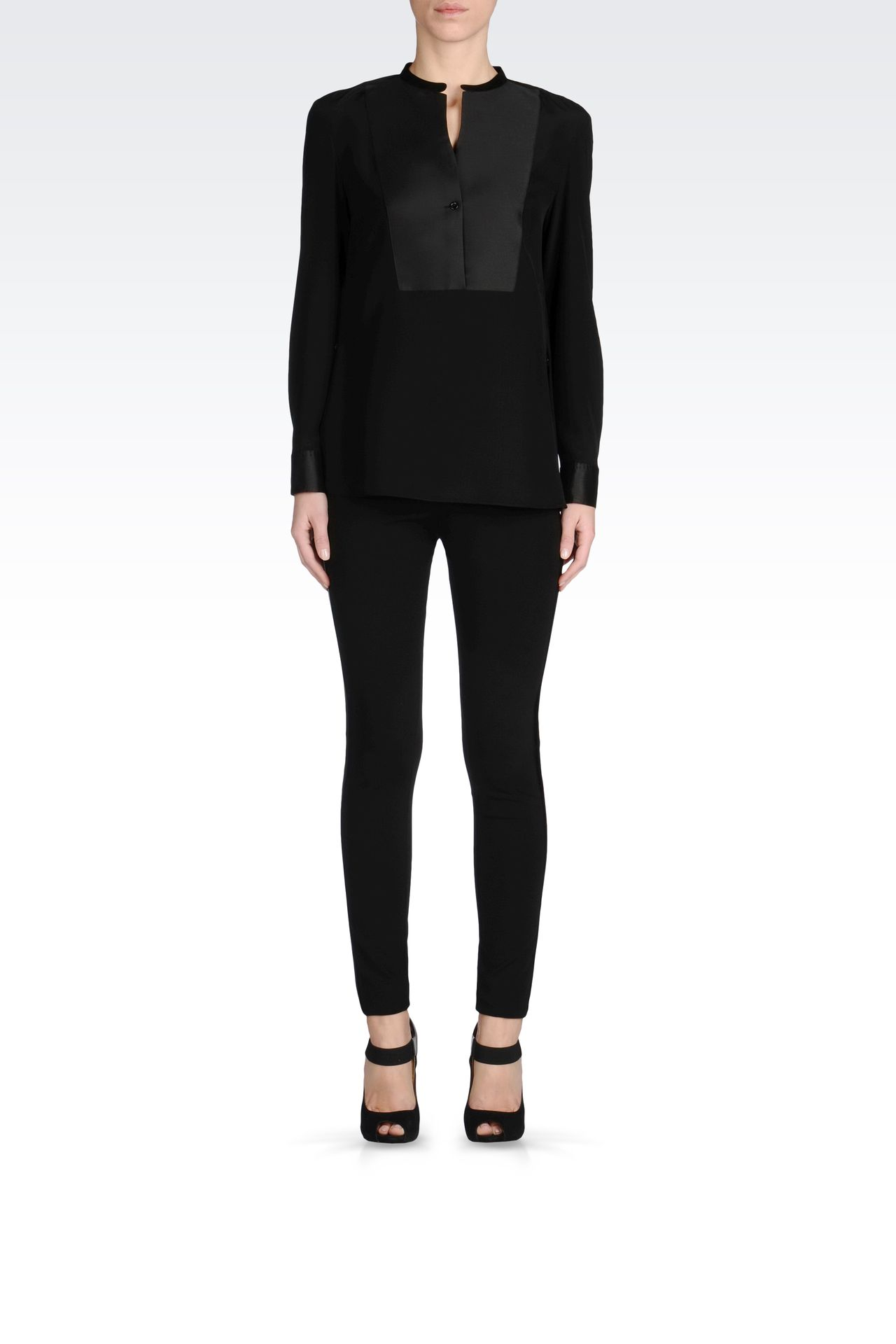 TROUSERS WITH SATIN TUXEDO DETAILING: Straight leg trousers Women by Armani - 0