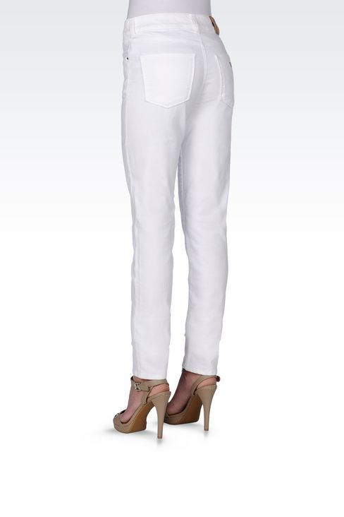 SLIM FIT STRETCH COTTON JEANS: Jeans Women by Armani - 4