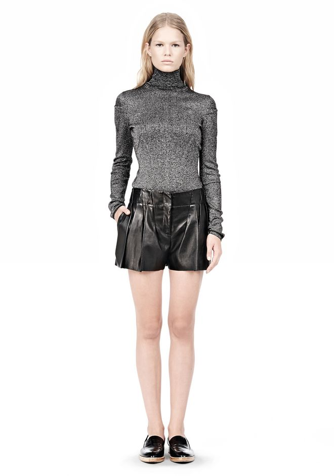 ALEXANDER WANG BLOOMER PLEATED LEATHER SHORTS SHORTS Adult 12_n_f