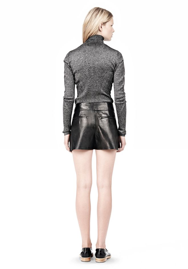 ALEXANDER WANG BLOOMER PLEATED LEATHER SHORTS SHORTS Adult 12_n_r