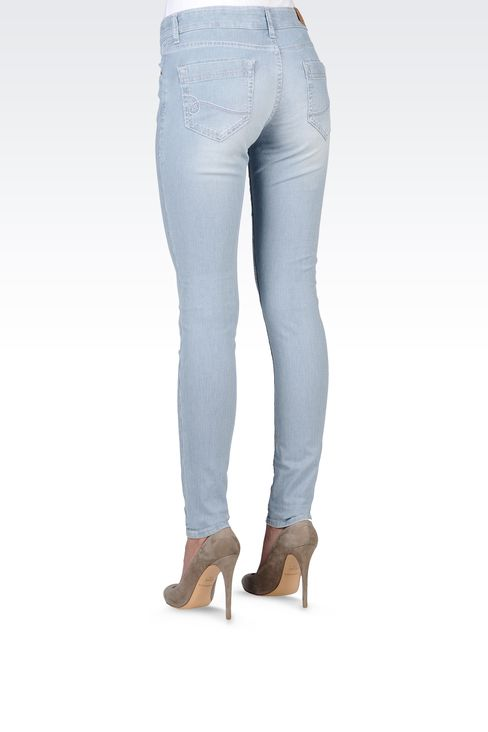 SUPER SKINNY MICRO-STRIPED JEANS: Jeans Women by Armani - 3