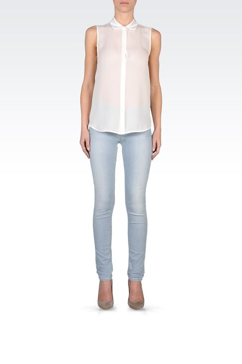 SUPER SKINNY MICRO-STRIPED JEANS: Jeans Women by Armani - 1