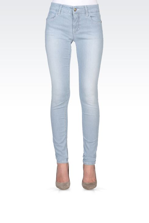 SUPER SKINNY MICRO-STRIPED JEANS: Jeans Women by Armani - 2