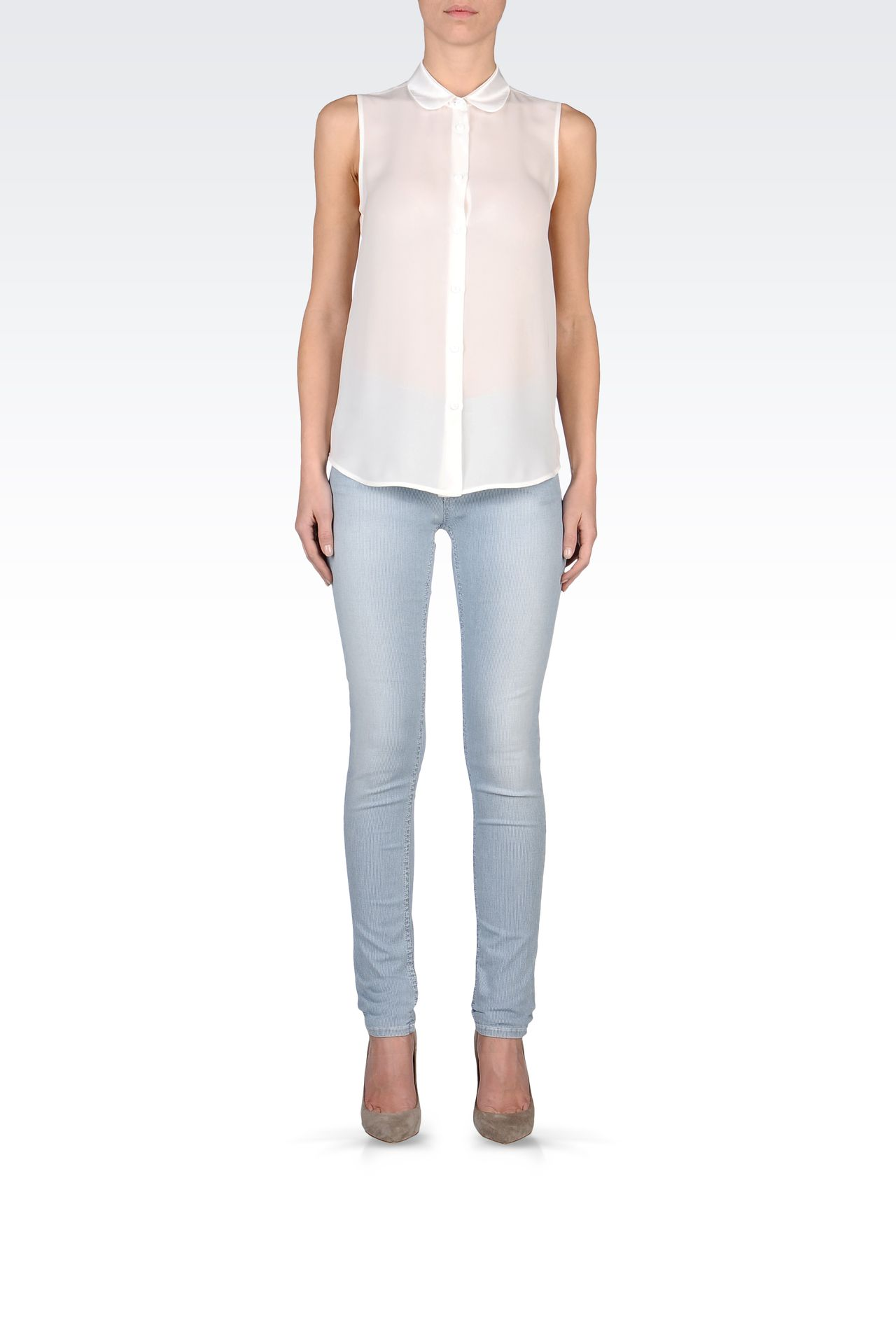 SUPER SKINNY MICRO-STRIPED JEANS: Jeans Women by Armani - 0
