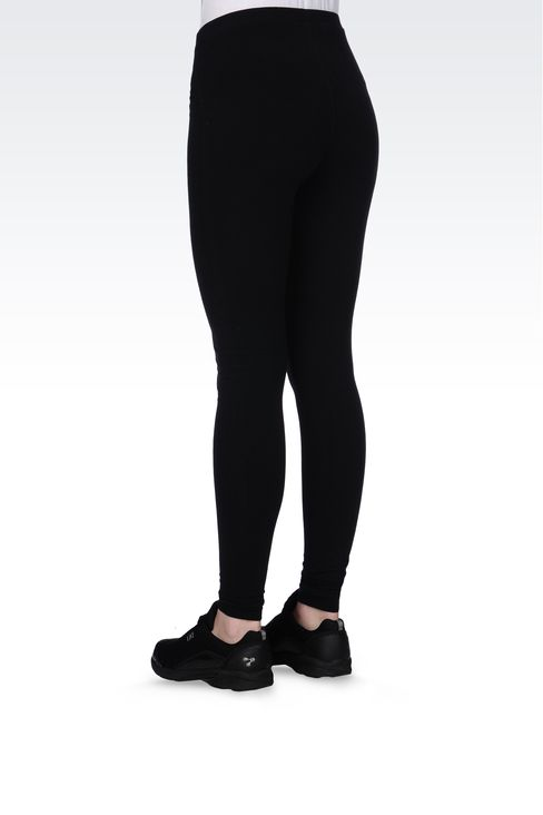 STRETCH COTTON LEGGINGS WITH LOGO: Leggings Women by Armani - 3