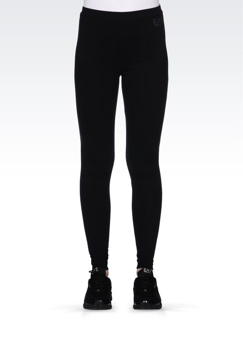STRETCH COTTON LEGGINGS WITH LOGO: Leggings Women by Armani - 2