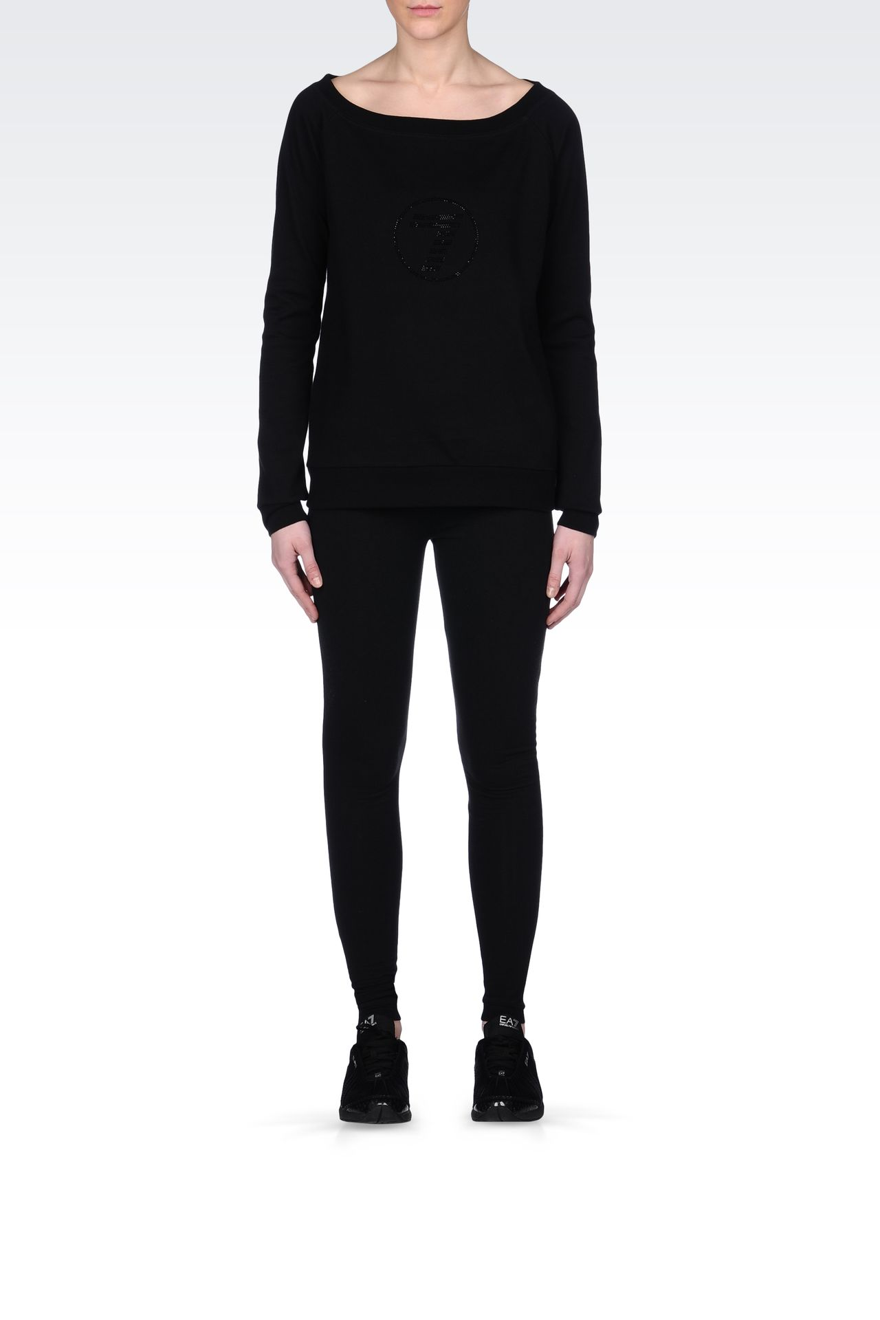 STRETCH COTTON LEGGINGS WITH LOGO: Leggings Women by Armani - 0