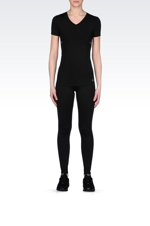 LEGGINGS IN TECHNICAL FABRIC WITH LOGO: Pants Women by Armani - 1
