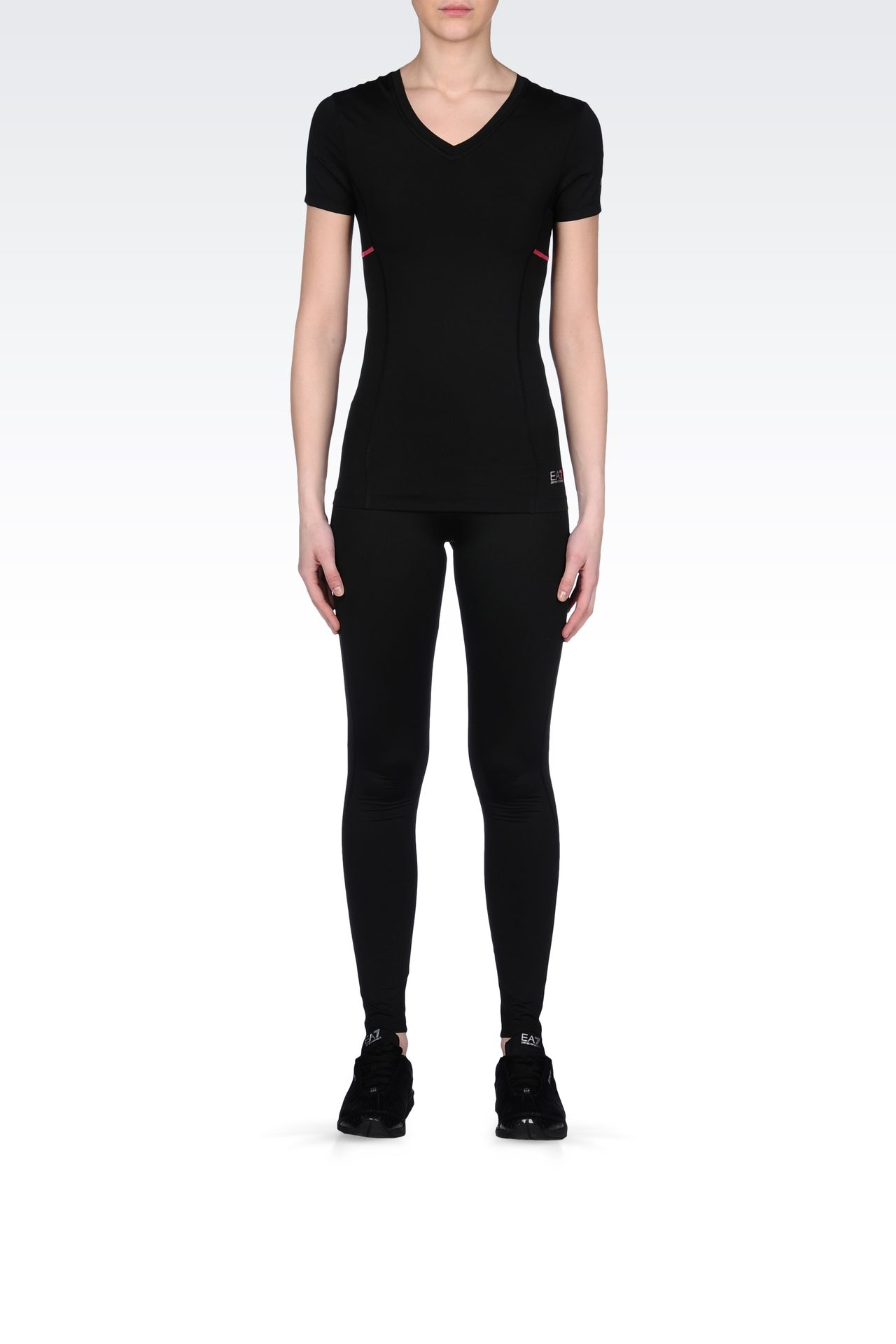 LEGGINGS IN TECHNICAL FABRIC WITH LOGO: Pants Women by Armani - 0