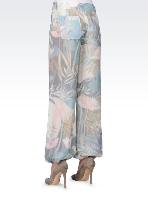 TROUSERS IN PRINTED SEERSUCKER SILK: Straight leg trousers Women by Armani - 3