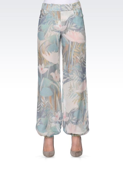 TROUSERS IN PRINTED SEERSUCKER SILK: Straight leg trousers Women by Armani - 2