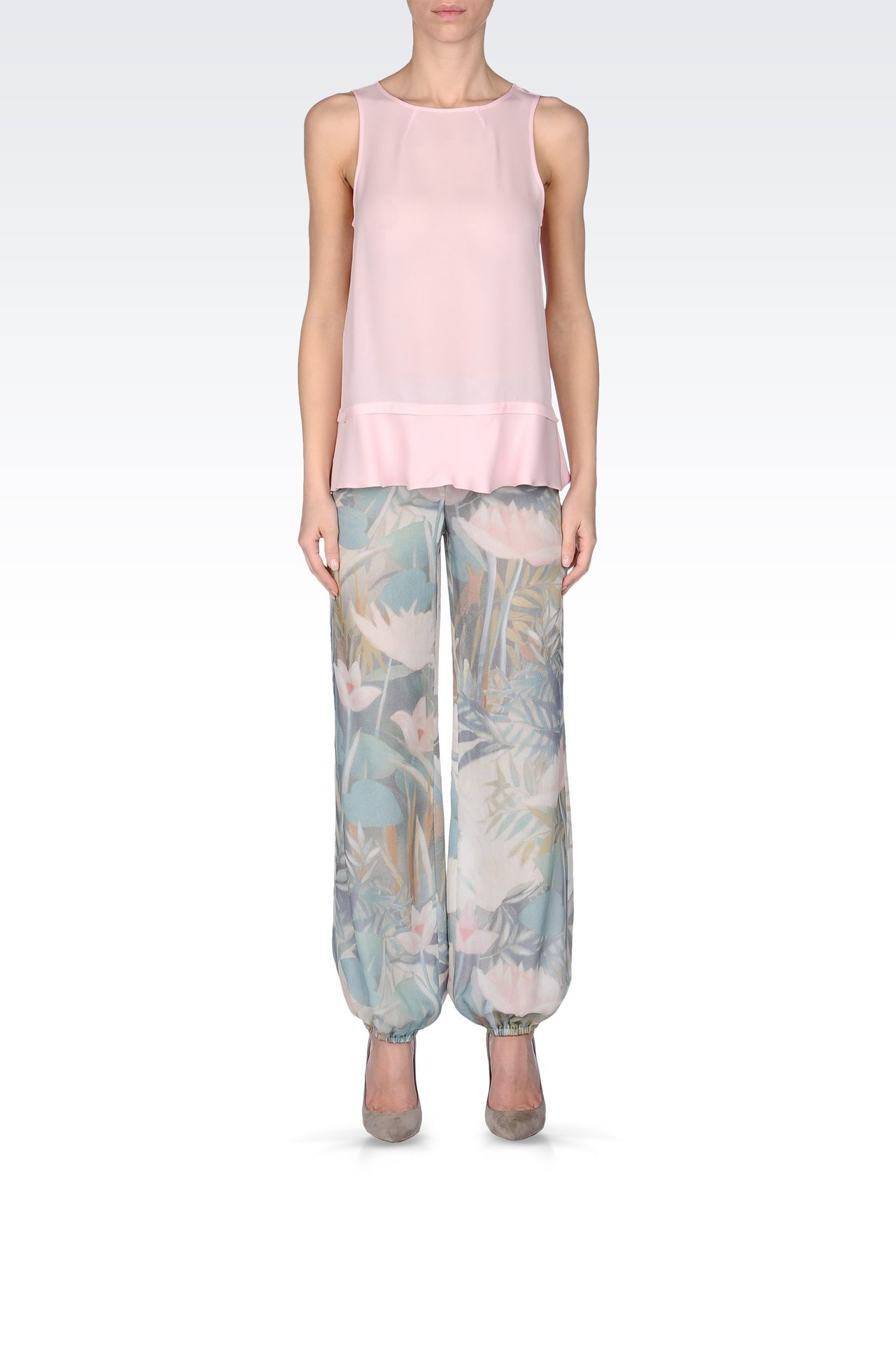 TROUSERS IN PRINTED SEERSUCKER SILK: Straight leg trousers Women by Armani - 0
