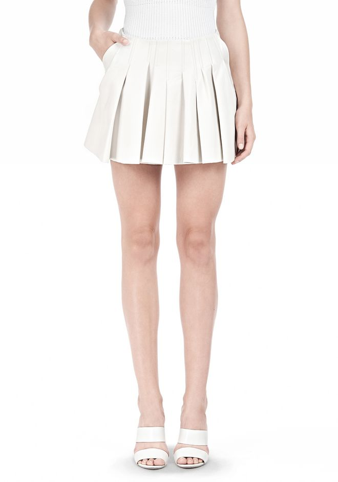 ALEXANDER WANG PLEATED LEATHER SKIRT SKIRT Adult 12_n_e