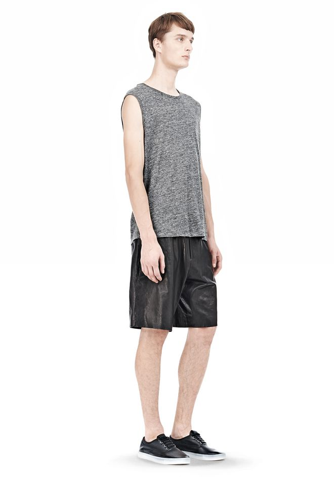 T by ALEXANDER WANG WASHED LEATHER SHORTS SHORTS Adult 12_n_a