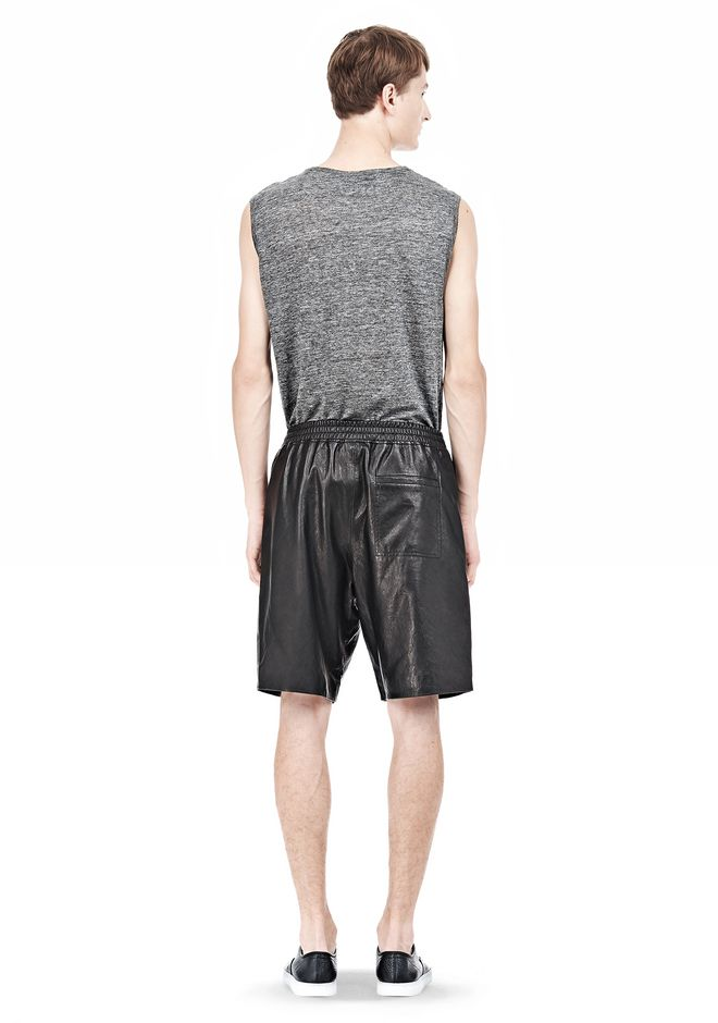 T by ALEXANDER WANG WASHED LEATHER SHORTS SHORTS Adult 12_n_r