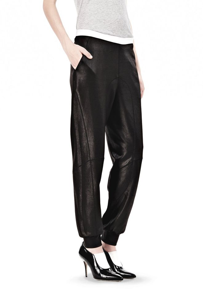 SHINY DOUBLE KNIT SWEAT PANTS