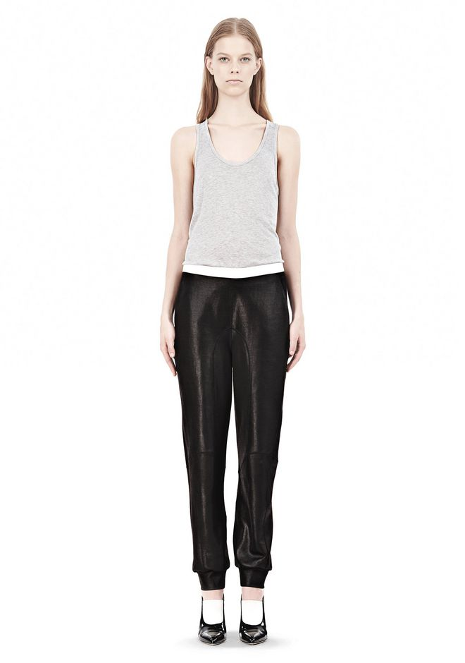 T by ALEXANDER WANG SHINY DOUBLE KNIT SWEAT PANTS
