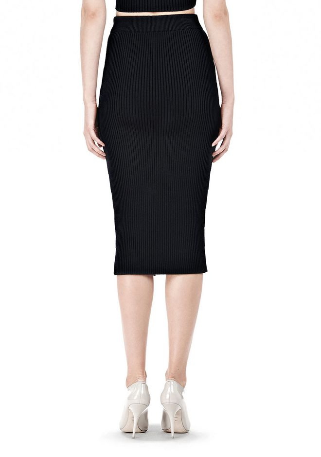 T by ALEXANDER WANG COTTON RIB KNIT TWO-WAY ZIP LONG SKIRT SKIRT Adult 12_n_a