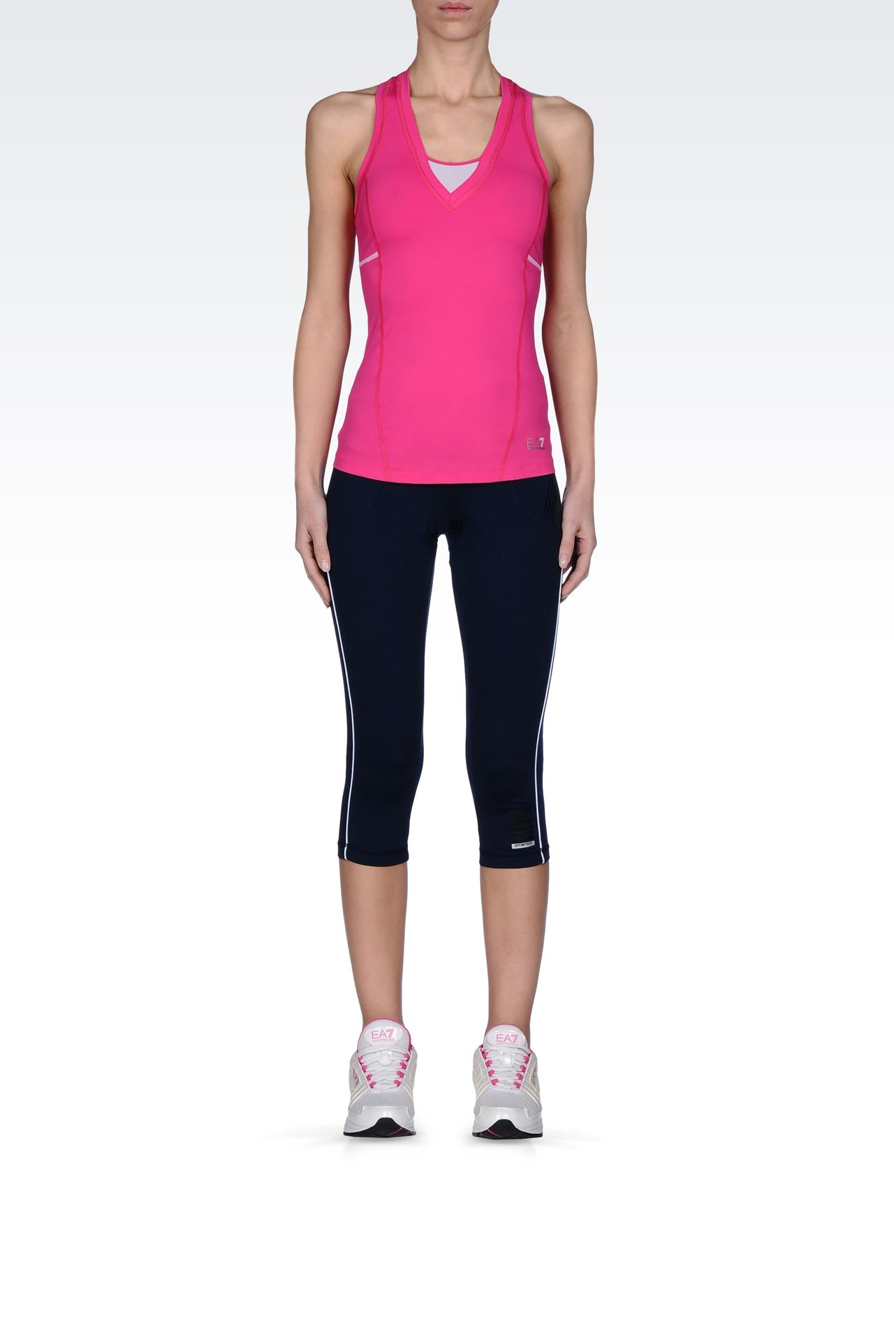 LEGGINGS IN TECHNICAL FABRIC WITH LOGO: Beach tanks Women by Armani - 0