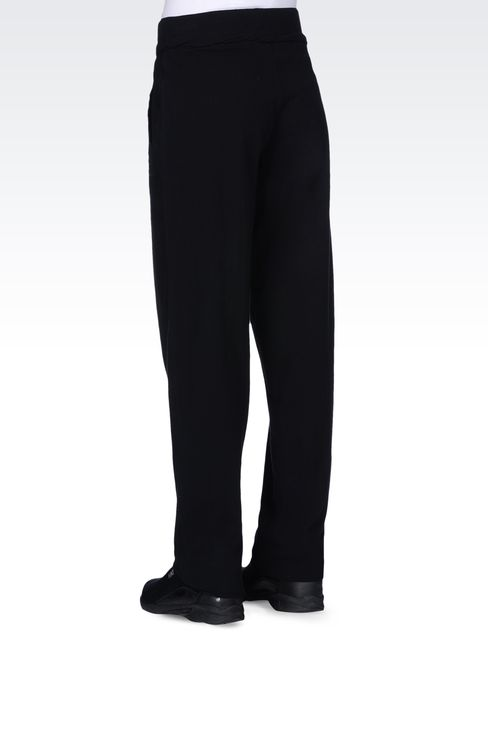 STRETCH COTTON TROUSERS WITH LOGO: Pants Women by Armani - 3