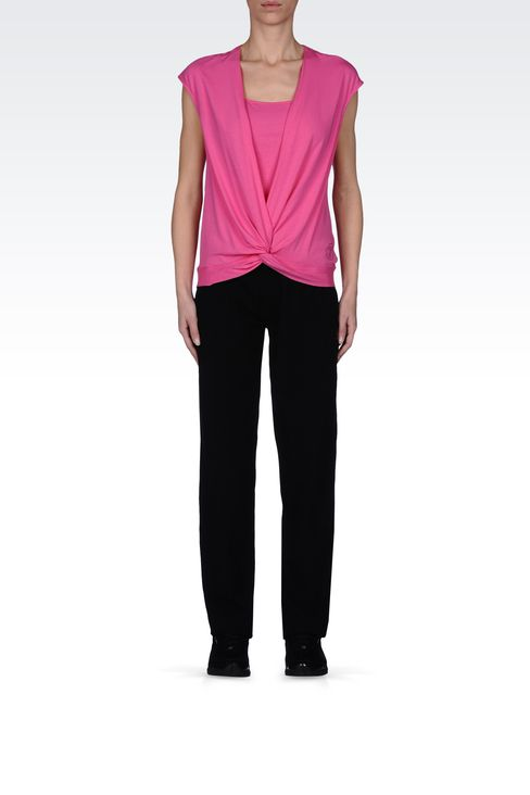STRETCH COTTON TROUSERS WITH LOGO: Pants Women by Armani - 1