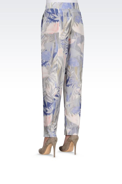 TROUSERS IN PRINTED HABOTAI SILK: High-waist pants Women by Armani - 3