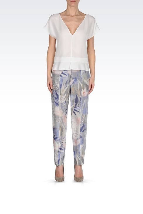 TROUSERS IN PRINTED HABOTAI SILK: High-waist pants Women by Armani - 1