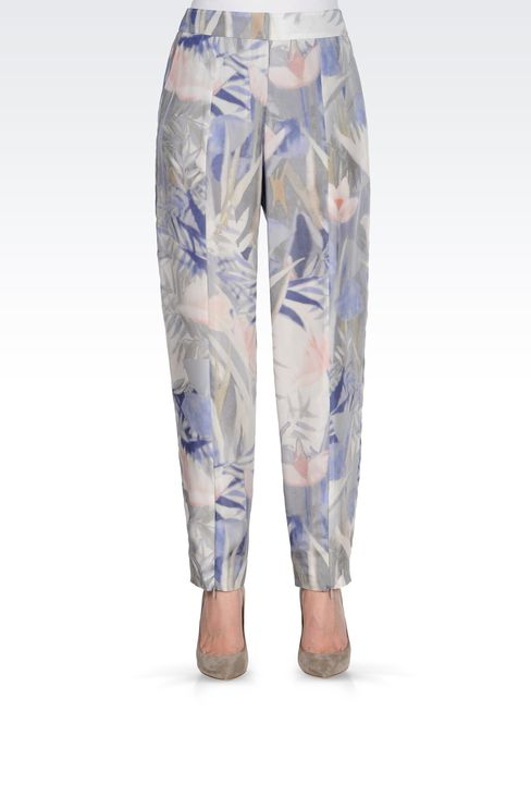 TROUSERS IN PRINTED HABOTAI SILK: High-waist pants Women by Armani - 2