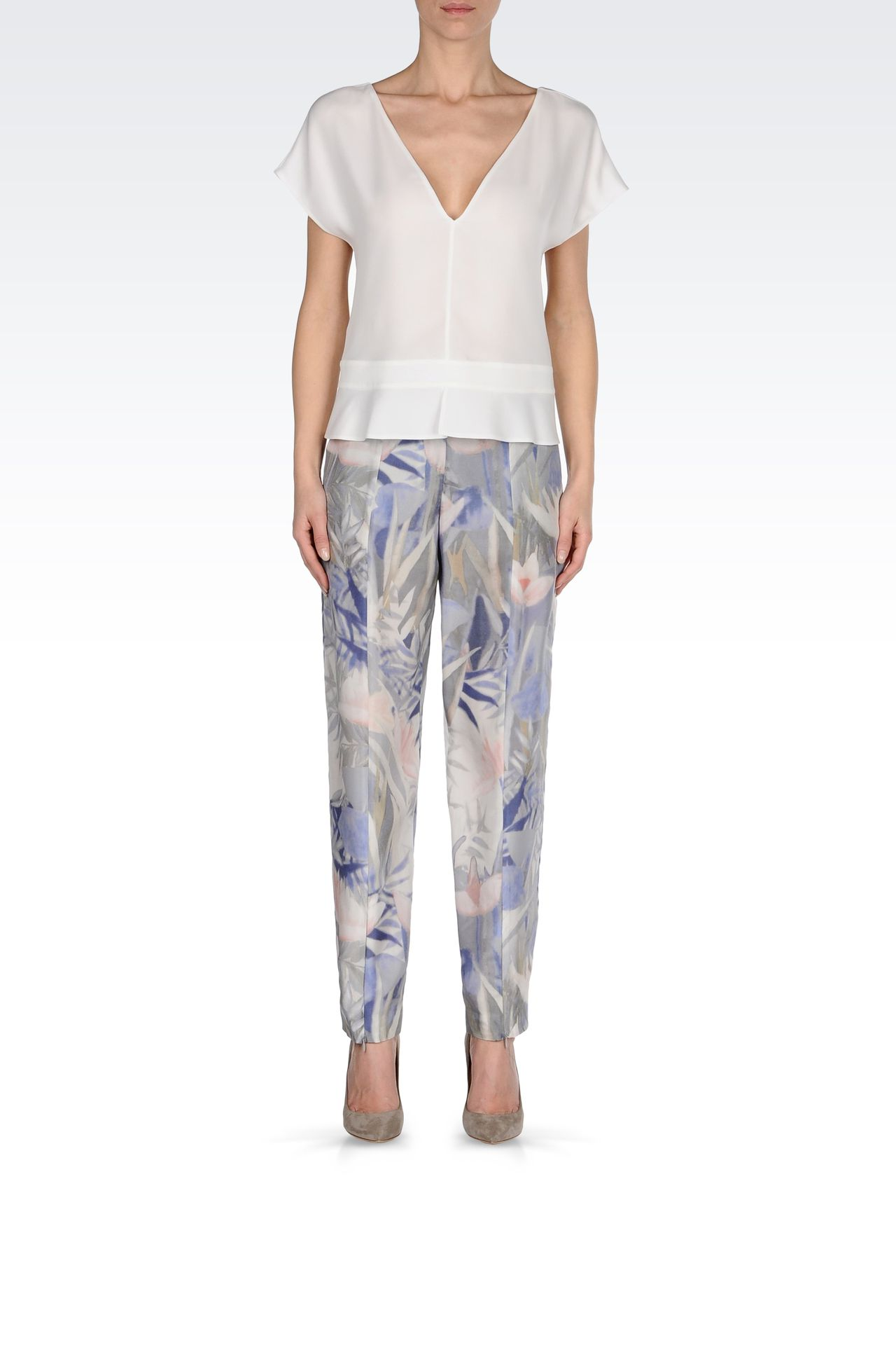 TROUSERS IN PRINTED HABOTAI SILK: High-waist pants Women by Armani - 0