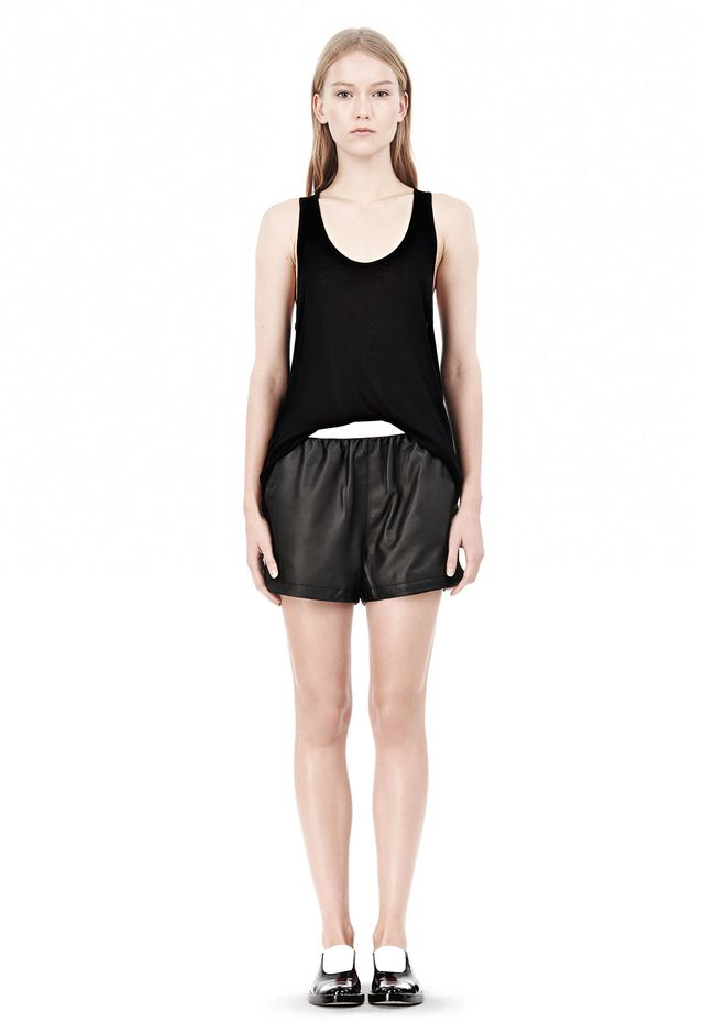 T by ALEXANDER WANG LEATHER SHORTS WITH ELASTIC WAISTBAND