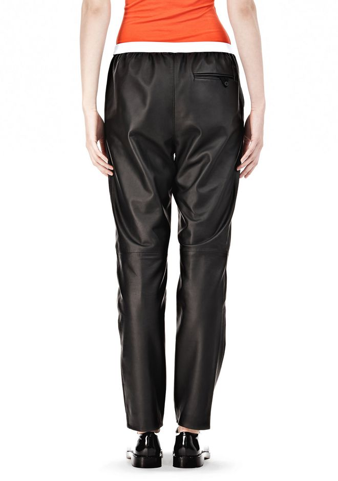T by ALEXANDER WANG LEATHER PANTS WITH ELASTIC WAISTBAND PANTS Adult 12_n_a