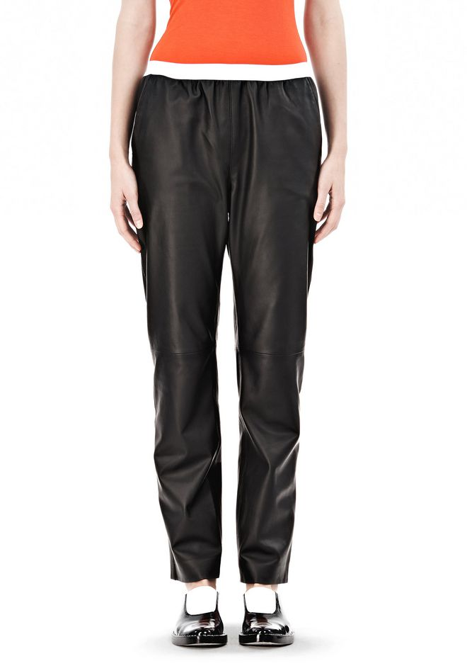 T by ALEXANDER WANG LEATHER PANTS WITH ELASTIC WAISTBAND PANTS Adult 12_n_d