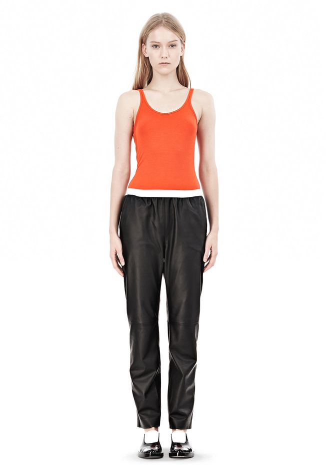 T by ALEXANDER WANG LEATHER PANTS WITH ELASTIC WAISTBAND PANTS Adult 12_n_f