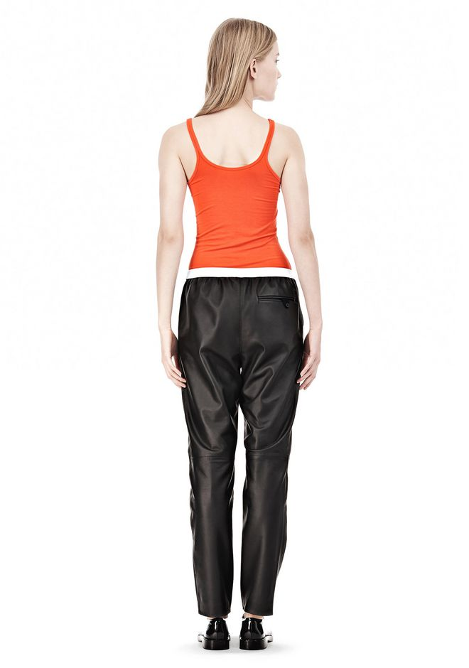 T by ALEXANDER WANG LEATHER PANTS WITH ELASTIC WAISTBAND PANTS Adult 12_n_r