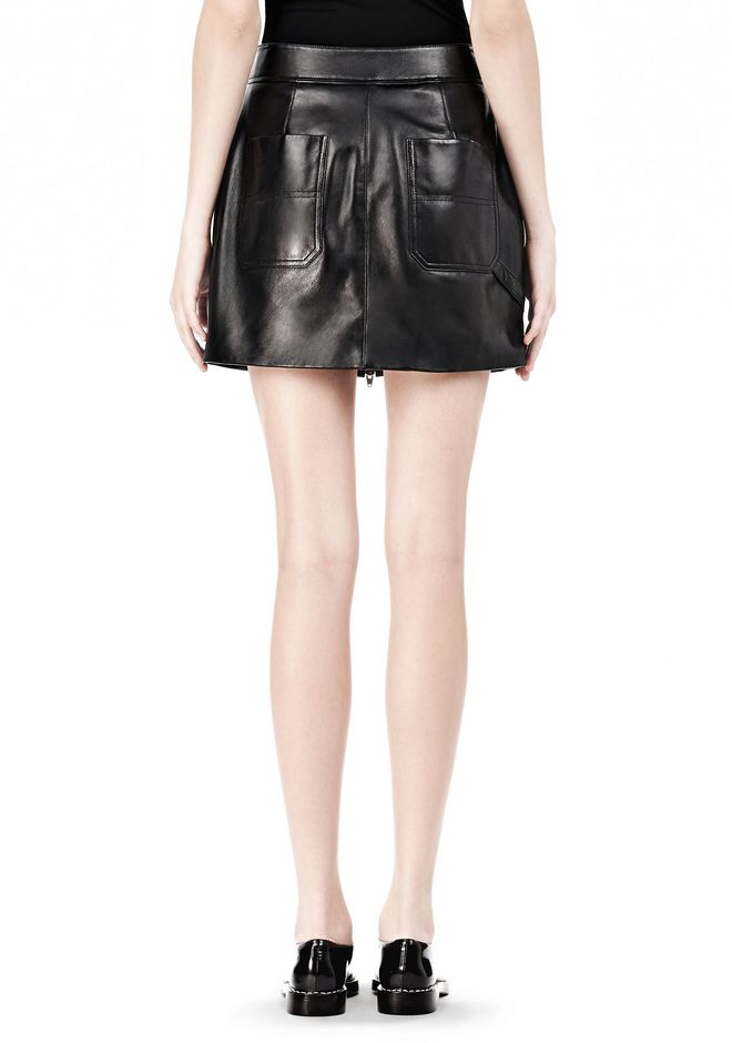 T by ALEXANDER WANG LEATHER TWO-WAY ZIP SKIRT WITH PATCH POCKETS SKIRT Adult 12_n_a