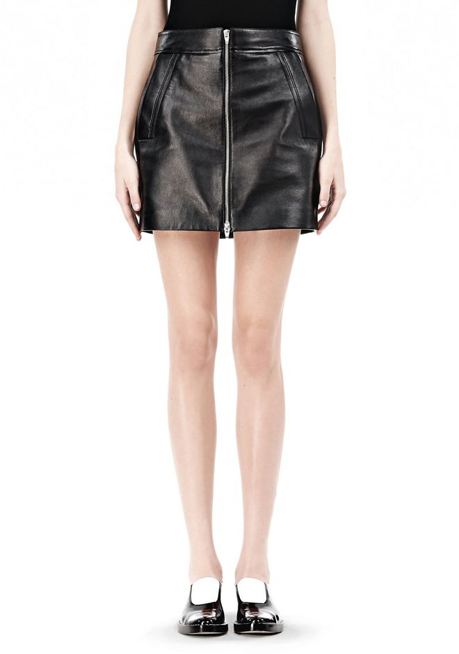 T by ALEXANDER WANG LEATHER TWO-WAY ZIP SKIRT WITH PATCH POCKETS SKIRT Adult 12_n_d
