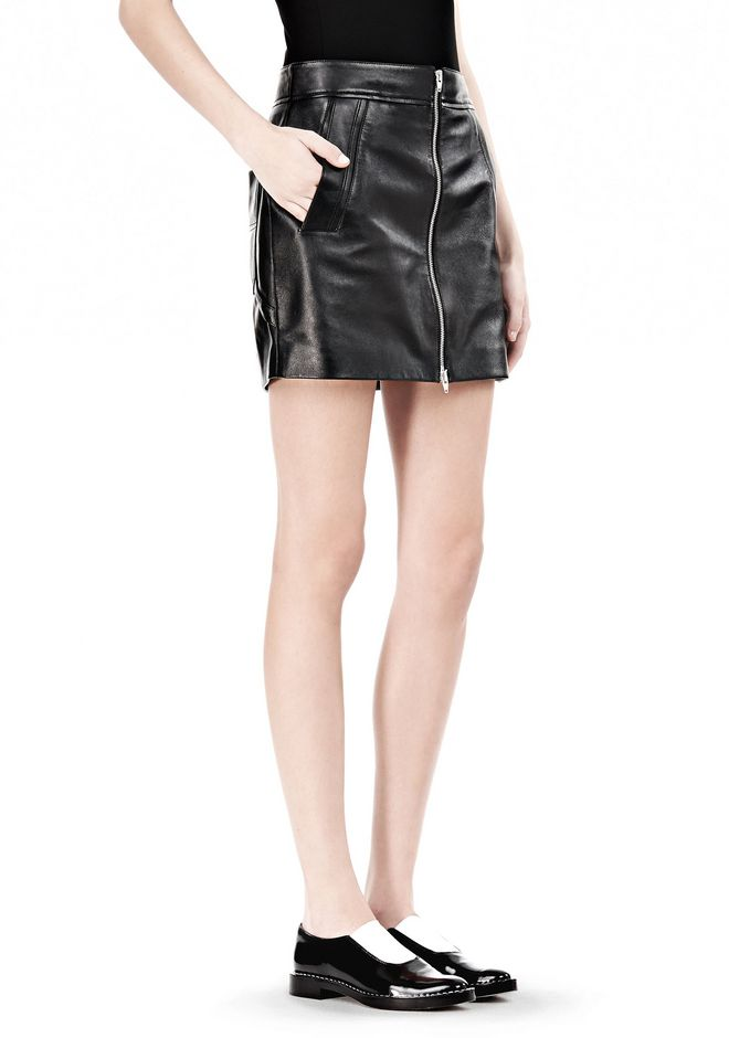 LEATHER TWO-WAY ZIP SKIRT WITH PATCH POCKETS
