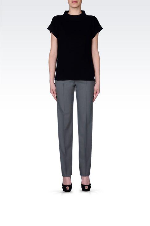CLASSIC WOOL TROUSERS: Straight leg pants Women by Armani - 2