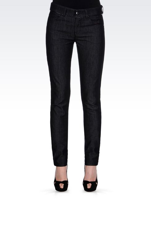 SKINNY DARK WASH JEANS: Jeans Women by Armani - 3
