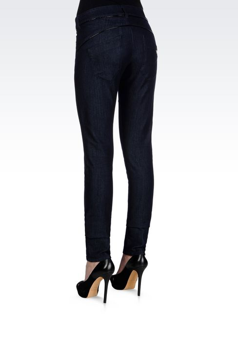 SKINNY DARK WASH JEANS: Jeans Women by Armani - 4