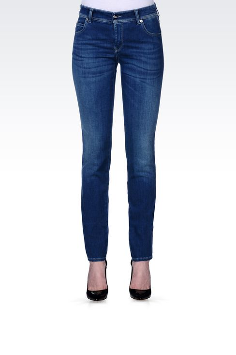 REGULAR FIT DARK WASH JEANS: Jeans Women by Armani - 3