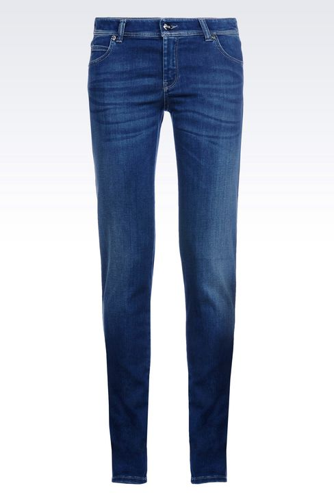 REGULAR FIT DARK WASH JEANS: Jeans Women by Armani - 1