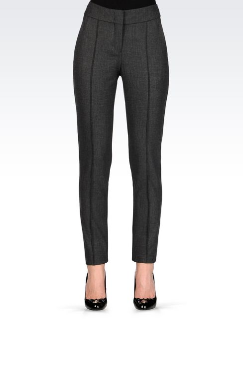 SLIM FIT TROUSERS IN TECHNICAL VISCOSE: Low-rise pants Women by Armani - 3