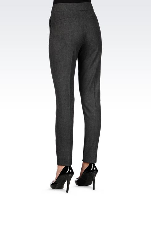 SLIM FIT TROUSERS IN TECHNICAL VISCOSE: Low-rise pants Women by Armani - 4