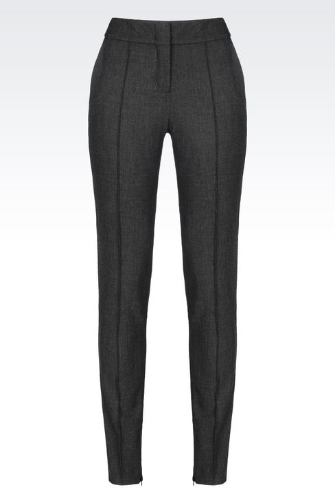 SLIM FIT TROUSERS IN TECHNICAL VISCOSE: Low-rise pants Women by Armani - 1