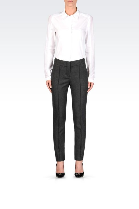 SLIM FIT TROUSERS IN TECHNICAL VISCOSE: Low-rise pants Women by Armani - 2