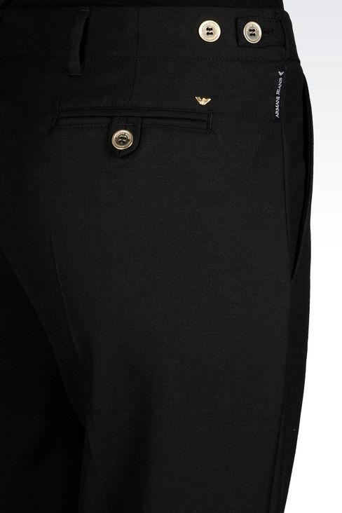 REGULAR FIT TROUSERS IN TECHNICAL VISCOSE: Low-rise pants Women by Armani - 5